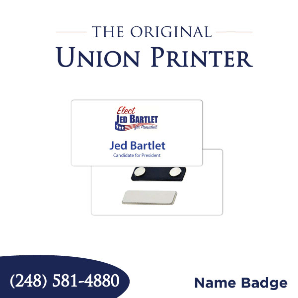 Union Printed Name Badges