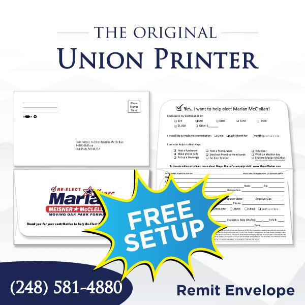 Union Printed Fundraising Envelopes