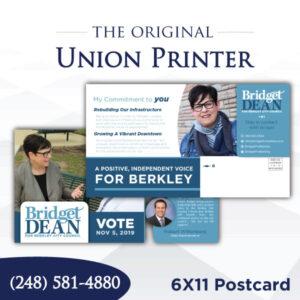 Union Printed 6x11 Postcard
