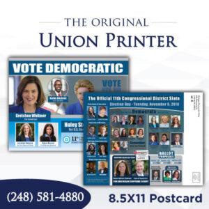Union Printed 8.5x11 Postcard